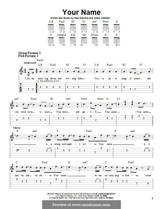 Your Name (Phillips, Craig & Dean): Para guitarra com guia by Paul Baloche, Glenn Packiam