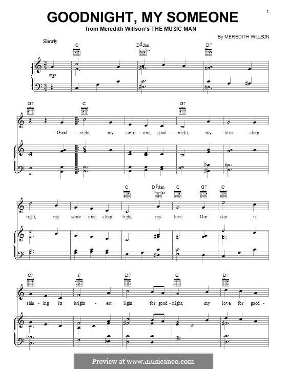 Goodnight, My Someone: Para vocais e piano (ou Guitarra) by Meredith Willson