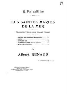 Les Saintes-Marie de la mer: No.4 Sacrifice rustique, for Organ by Emile Paladilhe