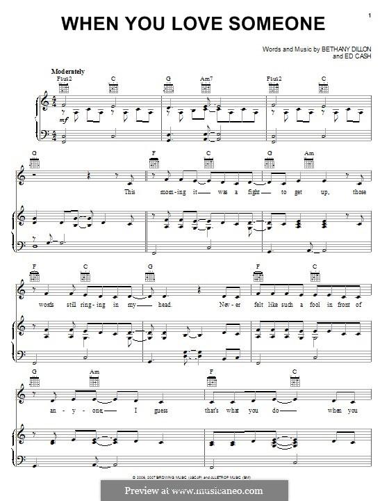When You Love Someone: Para vocais e piano (ou Guitarra) by Ed Cash, Bethany Dillon