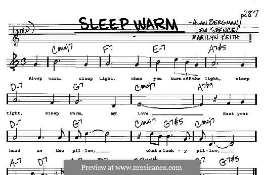 Sleep Warm: For any instrument by Alan Bergman, Lew Spence, Marilyn Keith