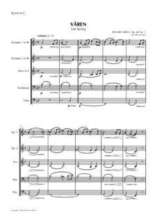 Two Elegiac Melodies, Op.34: No.2 Våren, for Wind Quintet by Edvard Grieg
