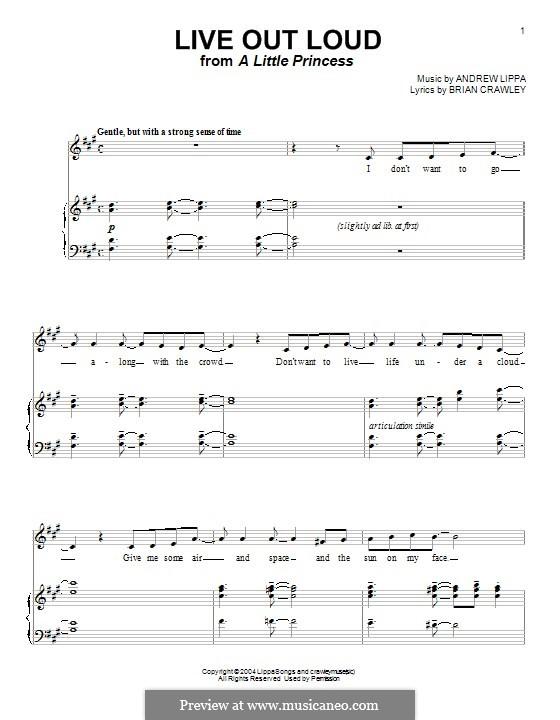 Live Out Loud: Para vocais e piano (ou Guitarra) by Andrew Lippa