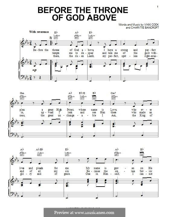 Before the Throne of God Above: Para vocais e piano (ou Guitarra) by Vickie Cook