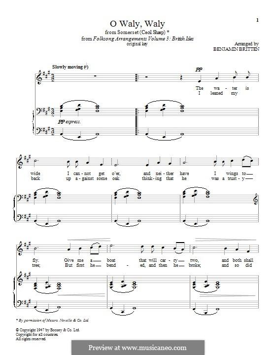 O Waly, Waly: Para vocais e piano by folklore
