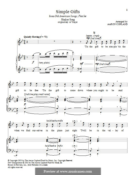 Simple Gifts: Para vocais e piano by folklore