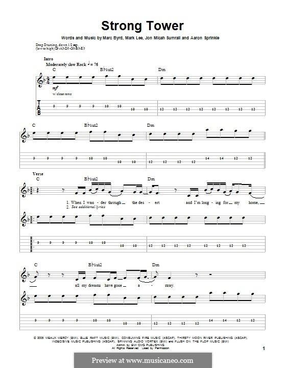 Strong Tower (Kutless): Para guitarra com guia by Marc Byrd, Mark Lee, Jon Micah Sumrall, Aaron Sprinkle