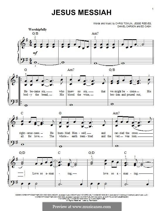 Jesus Messiah: Para Piano by Chris Tomlin, Daniel Carson, Ed Cash, Jesse Reeves