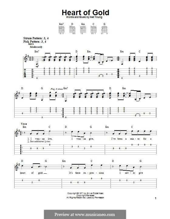 Heart of Gold: Para guitarra com guia by Neil Young