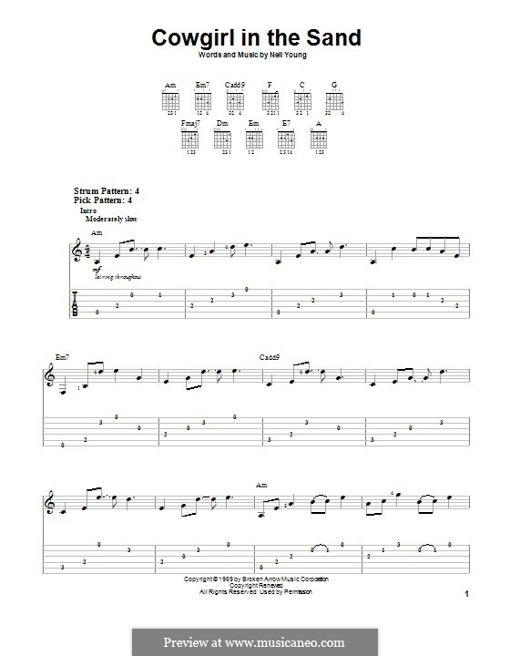 Cowgirl in the Sand: Para guitarra com guia by Neil Young