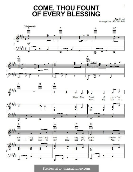 Come Thou Fount of Every Blessing: Para vocais e piano (ou Guitarra) by folklore