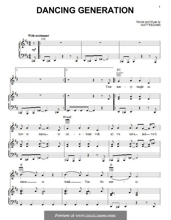 Dancing Generation: Para vocais e piano (ou Guitarra) by Matt Redman