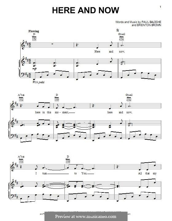 Here and Now: Para vocais e piano (ou Guitarra) by Paul Baloche, Brenton Brown