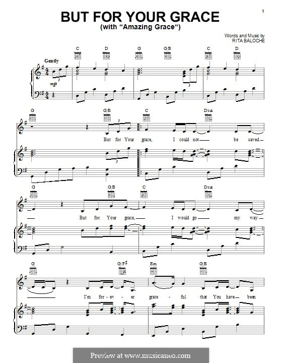But for Your Grace: Para vocais e piano (ou Guitarra) by Paul Baloche, Rita Baloche