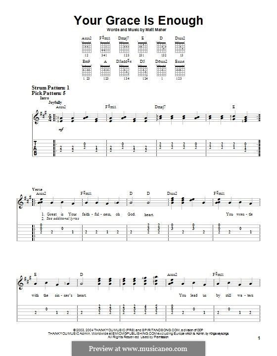 Your Grace is Enough: Para guitarra com guia by Matt Maher