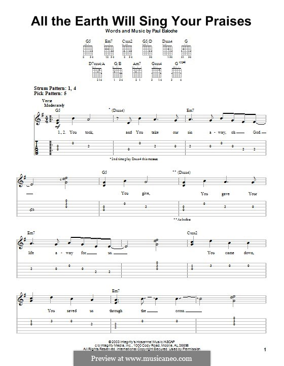 All the Earth Will Sing Your Praises: Para guitarra com guia by Paul Baloche