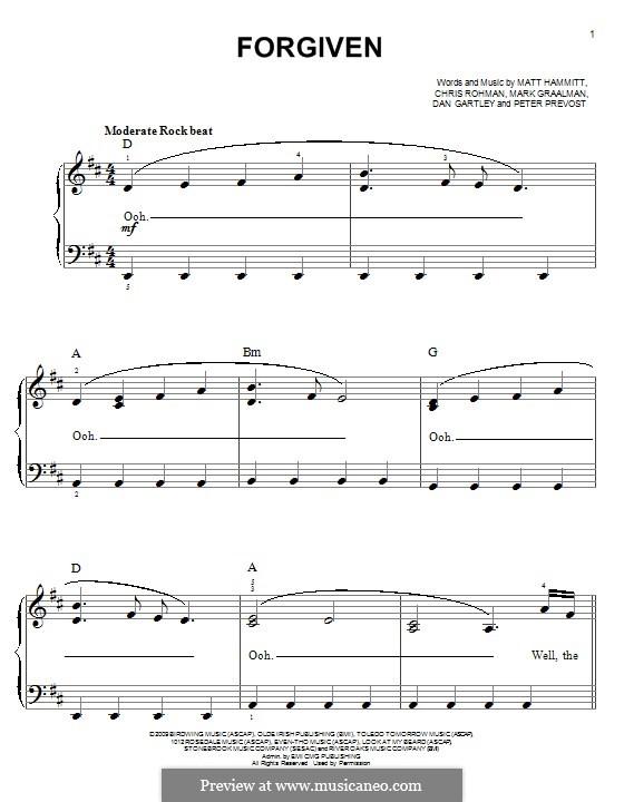 Forgiven (Sanctus Real): Para Piano by Chris Rohman, Matt Hammitt, Mark Graalman, Dan Gartley, Peter Prevost
