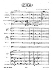 Concerto for Cello and Orchestra in B Minor, B.191 Op.104: movimento I by Antonín Dvořák