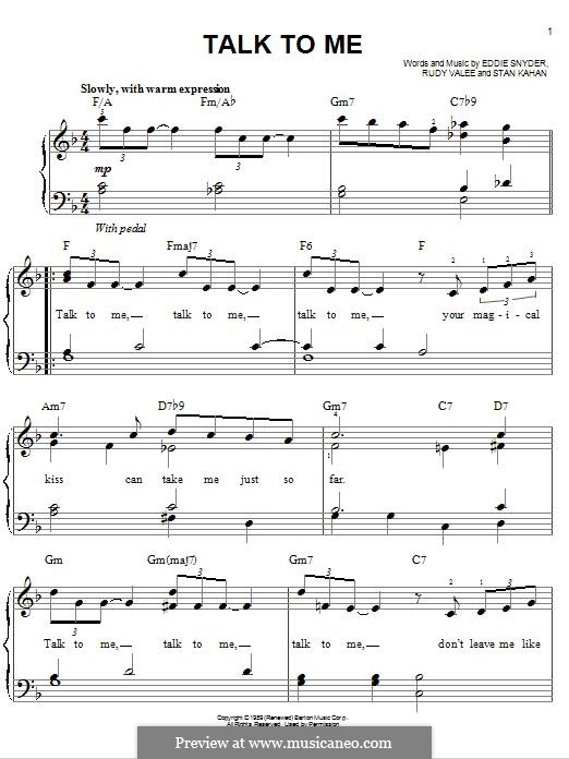 Talk To Me: Para Piano by Eddie Snyder, Rudy Valee, Stan Kahan