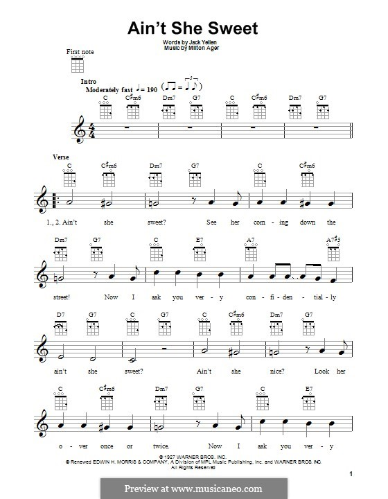 Ain't She Sweet (The Beatles): para ukulele by Milton Ager