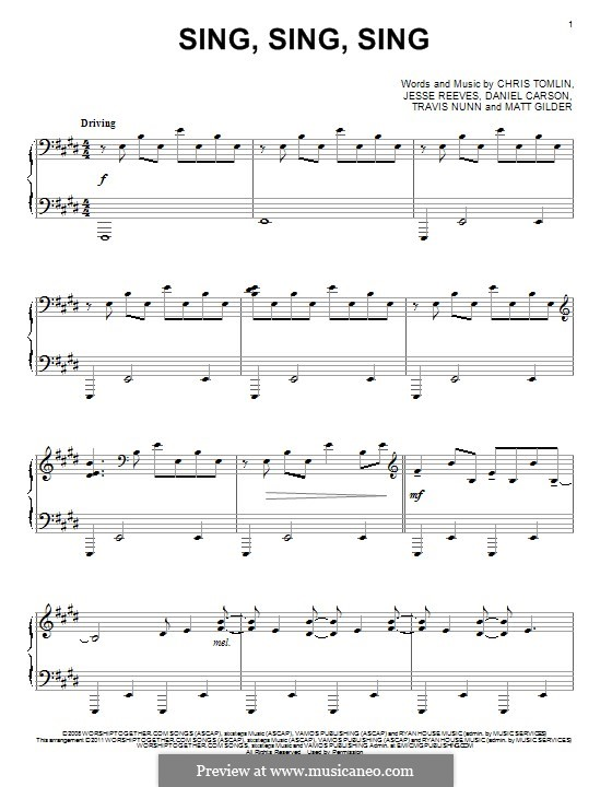 Sing, Sing, Sing: Para Piano by Chris Tomlin, Daniel Carson, Jesse Reeves, Matt Gilder, Travis Nunn