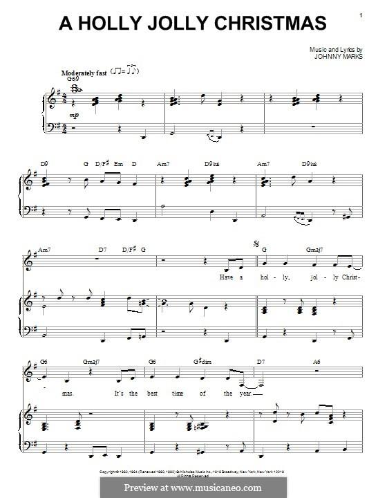 A Holly Jolly Christmas: Para vocais e piano by Johnny Marks