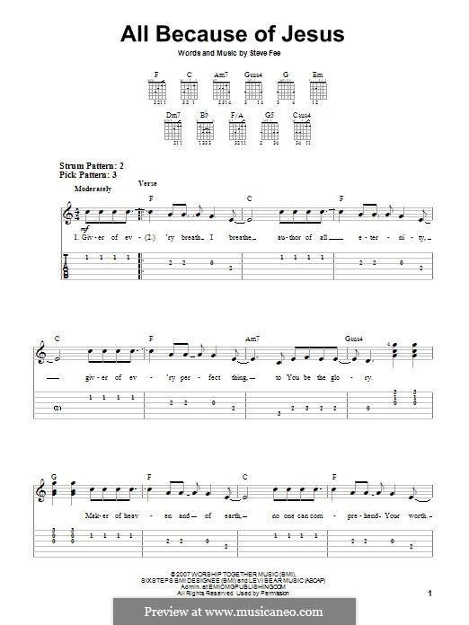 All Because of Jesus (Casting Crowns): Para guitarra com guia by Steve Fee
