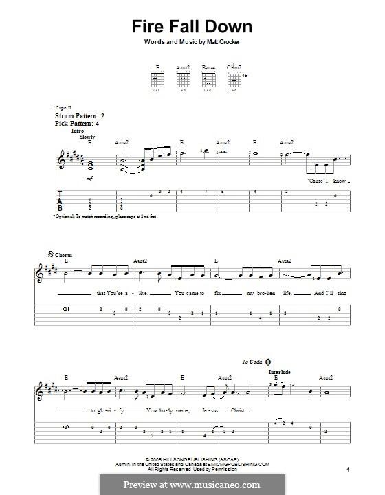 Fire Fall Down: Para guitarra com guia by Matt Crocker