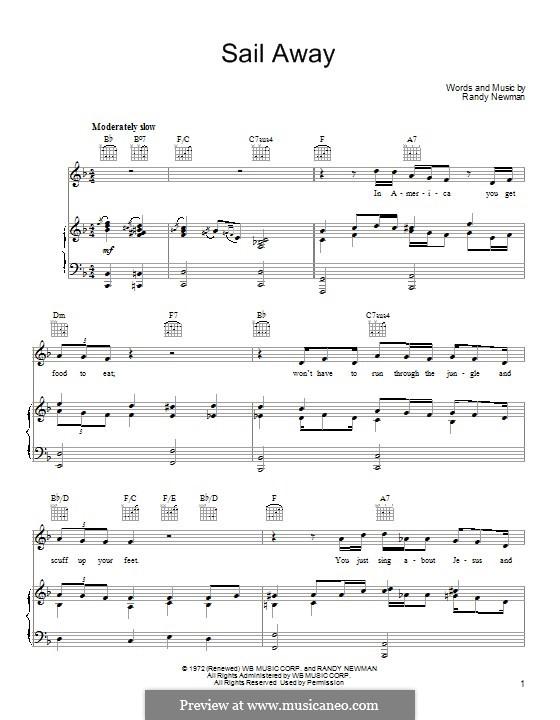 Sail Away: Para vocais e piano (ou Guitarra) by Randy Newman
