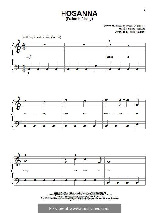 Hosanna (Praise is Rising): Para Piano by Paul Baloche, Brenton Brown