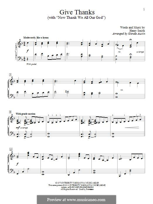 Give Thanks: Para Piano by Henry Smith