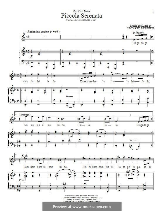 Piccola Serenata: Para vocais e piano by Leonard Bernstein