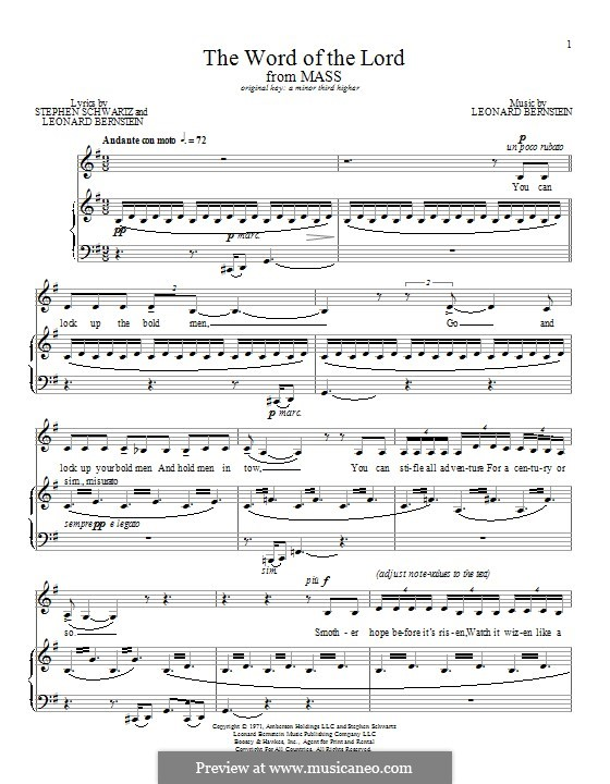 The Word Of the Lord: Para vocais e piano by Leonard Bernstein
