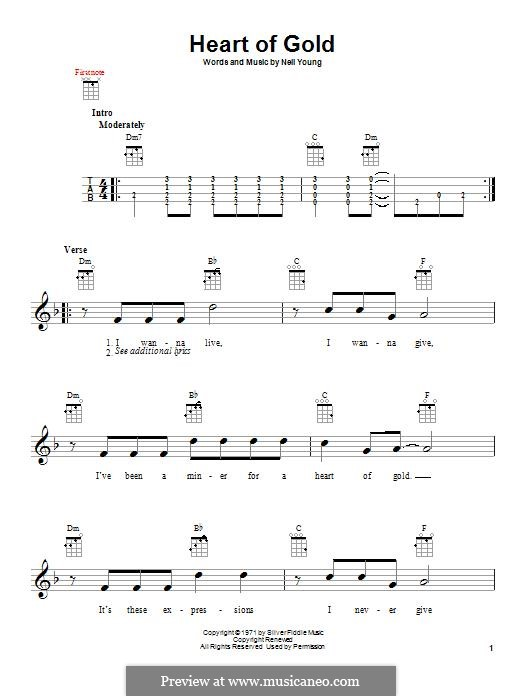 Heart of Gold: para ukulele by Neil Young