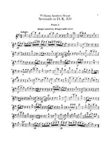 Serenade for Orchestra No.7 in D Major 'Haffner', K.250: parte flauta by Wolfgang Amadeus Mozart