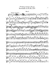 Serenade for Orchestra No.7 in D Major 'Haffner', K.250: parte oboes by Wolfgang Amadeus Mozart