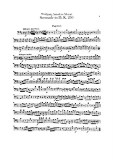 Serenade for Orchestra No.7 in D Major 'Haffner', K.250: parte Fagotes by Wolfgang Amadeus Mozart