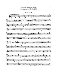Serenade for Orchestra No.7 in D Major 'Haffner', K.250: parte trompeta by Wolfgang Amadeus Mozart