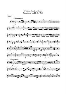 Serenade for Orchestra No.7 in D Major 'Haffner', K.250: violinos parte I by Wolfgang Amadeus Mozart