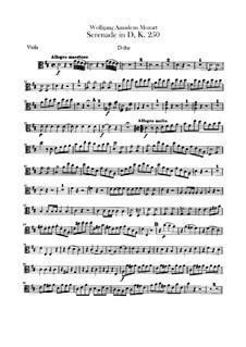 Serenade for Orchestra No.7 in D Major 'Haffner', K.250: parte violas by Wolfgang Amadeus Mozart
