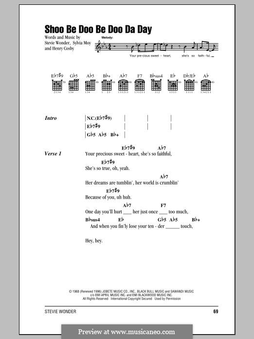 Shoo Be Doo Be Doo Da Day: Letras e Acordes by Stevie Wonder