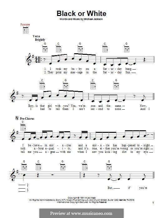 Black or White: para ukulele by Bill Bottrell, Michael Jackson