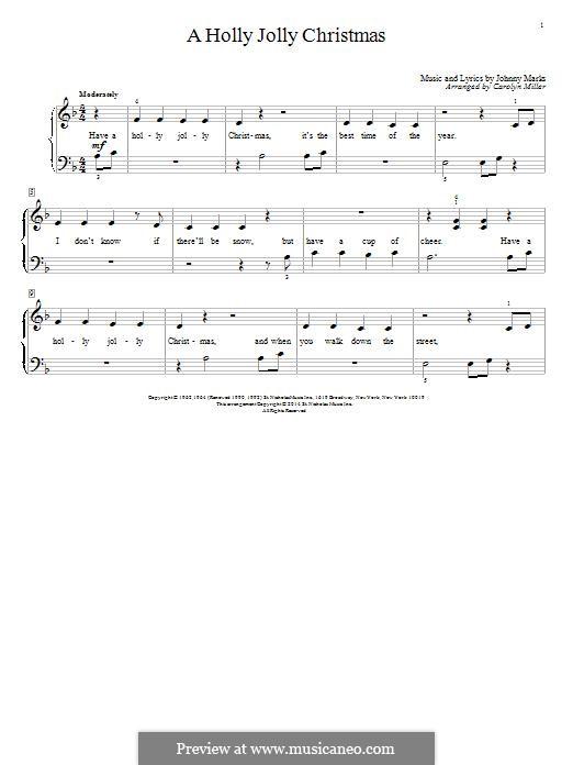 A Holly Jolly Christmas: Para Piano by Johnny Marks