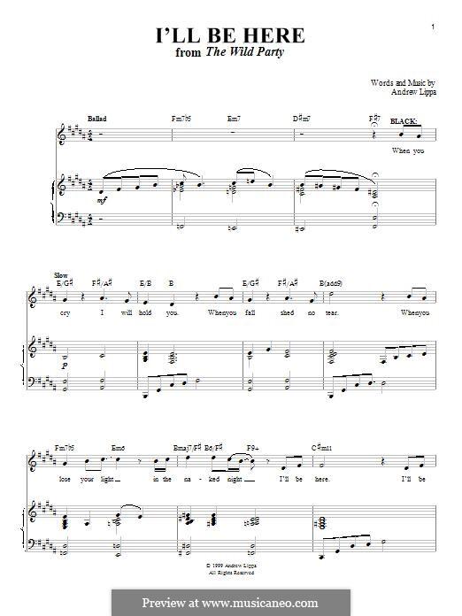 I'll Be Here: Para vocais e piano by Andrew Lippa
