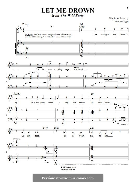 Let Me Drown: Para vocais e piano by Andrew Lippa