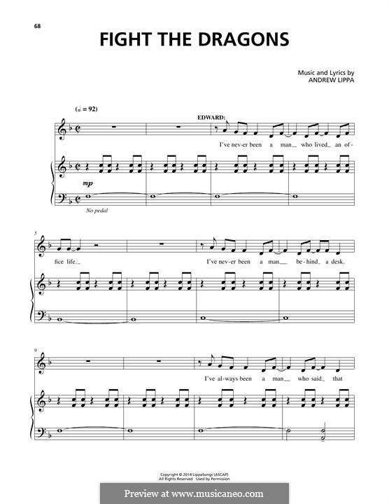 Fight the Dragons: Para vocais e piano (ou Guitarra) by Andrew Lippa