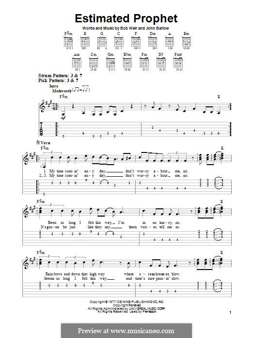 Estimated Prophet (Grateful Dead): Para guitarra com guia by Bob Weir, John Barlow