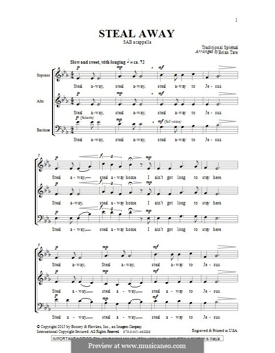 Steal Away (Steal Away To Jesus): para coro misto by folklore