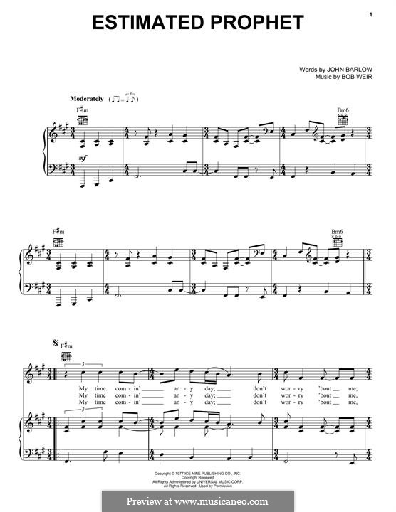 Estimated Prophet (Grateful Dead): Para vocais e piano (ou Guitarra) by Bob Weir, John Barlow