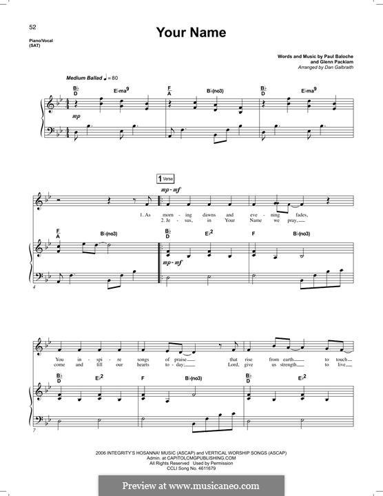 Your Name (Phillips, Craig & Dean): Para vocais e piano by Paul Baloche, Glenn Packiam